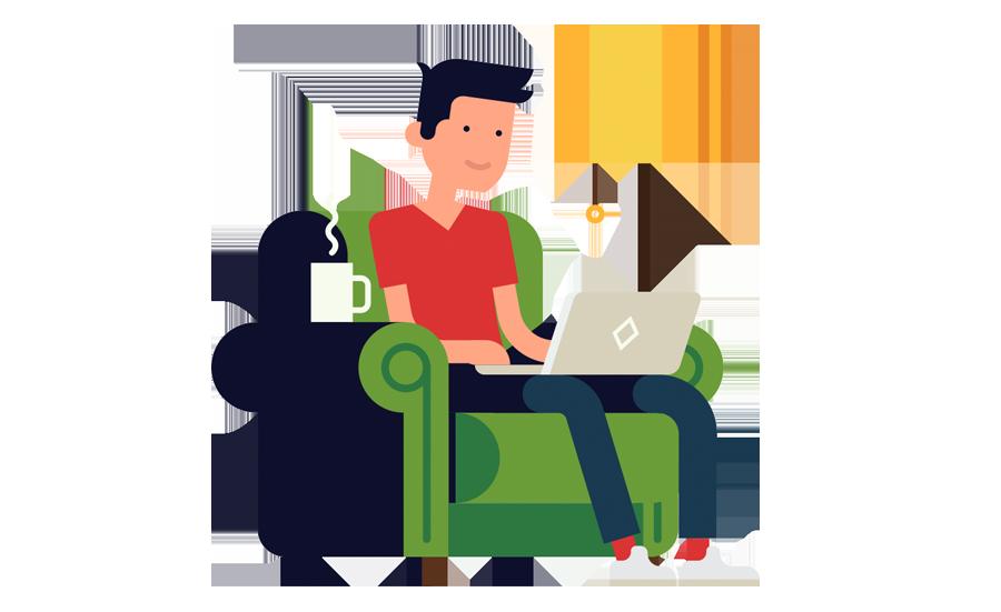icoon man zittend op stoel met laptop